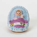 Enesco Growing Up Girls Blonde Baby in Cradle Figurine