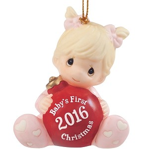 Baby's First Christmas 2016 (Girl) -  Precious Moment Ornament