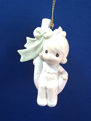 Baby's First Christmas 1992 (Girl) - Precious Moment Ornament