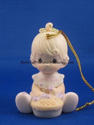 Baby's First Christmas 1990 (Girl) - Precious Moments Ornament