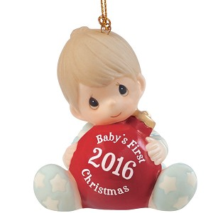 Baby's First Christmas 2016 (Boy) -  Precious Moment Ornament
