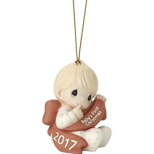 Baby's First Christmas 2017 (Boy) -  Precious Moment Ornament