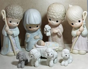 "Come Let Us Adore Him- Precious Moments 9"" Dealers Ed. Porcelain Nativity"