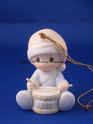 Baby's First Christmas 1991 (Boy) - Precious Moment Ornament