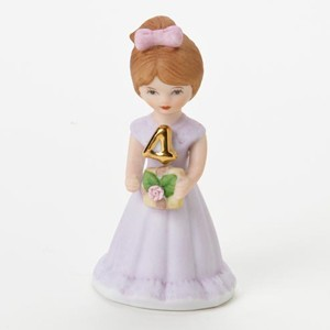 Enesco Growing Up Girls Brunette Age 4 Birthday Girl Figurine