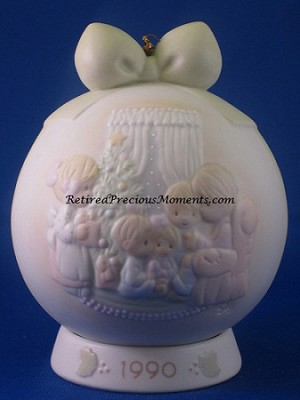 May Your Christmas Be A Happy Home - 1990 Precious Moment Ball Ornament